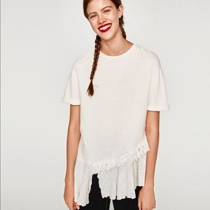 zara white contrast asymmetric top